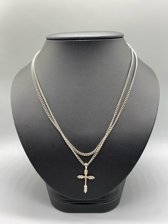 Dual Strand Silver Cross Pendant Necklace