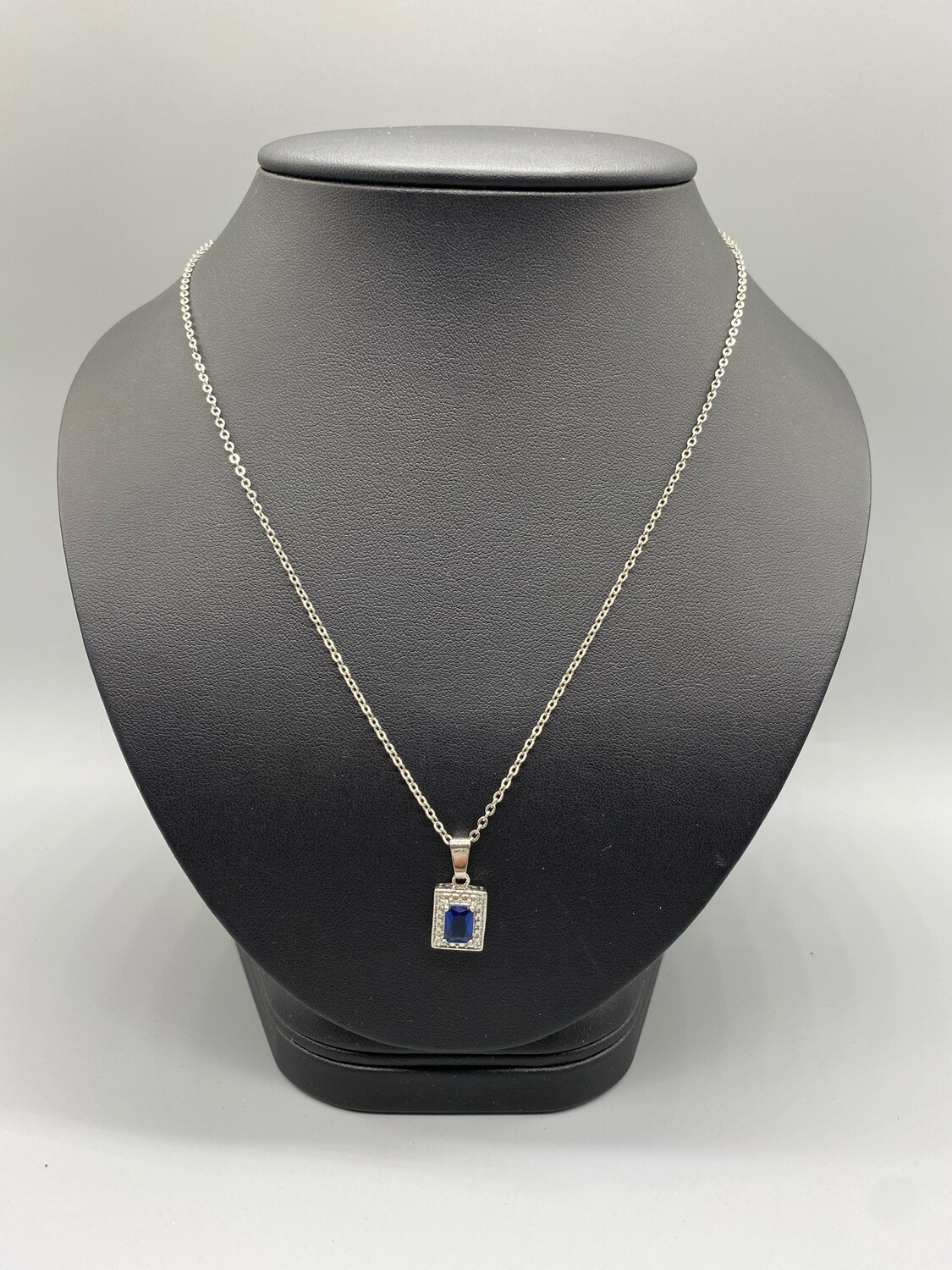 Silver Pendant Necklace With Blue Stone