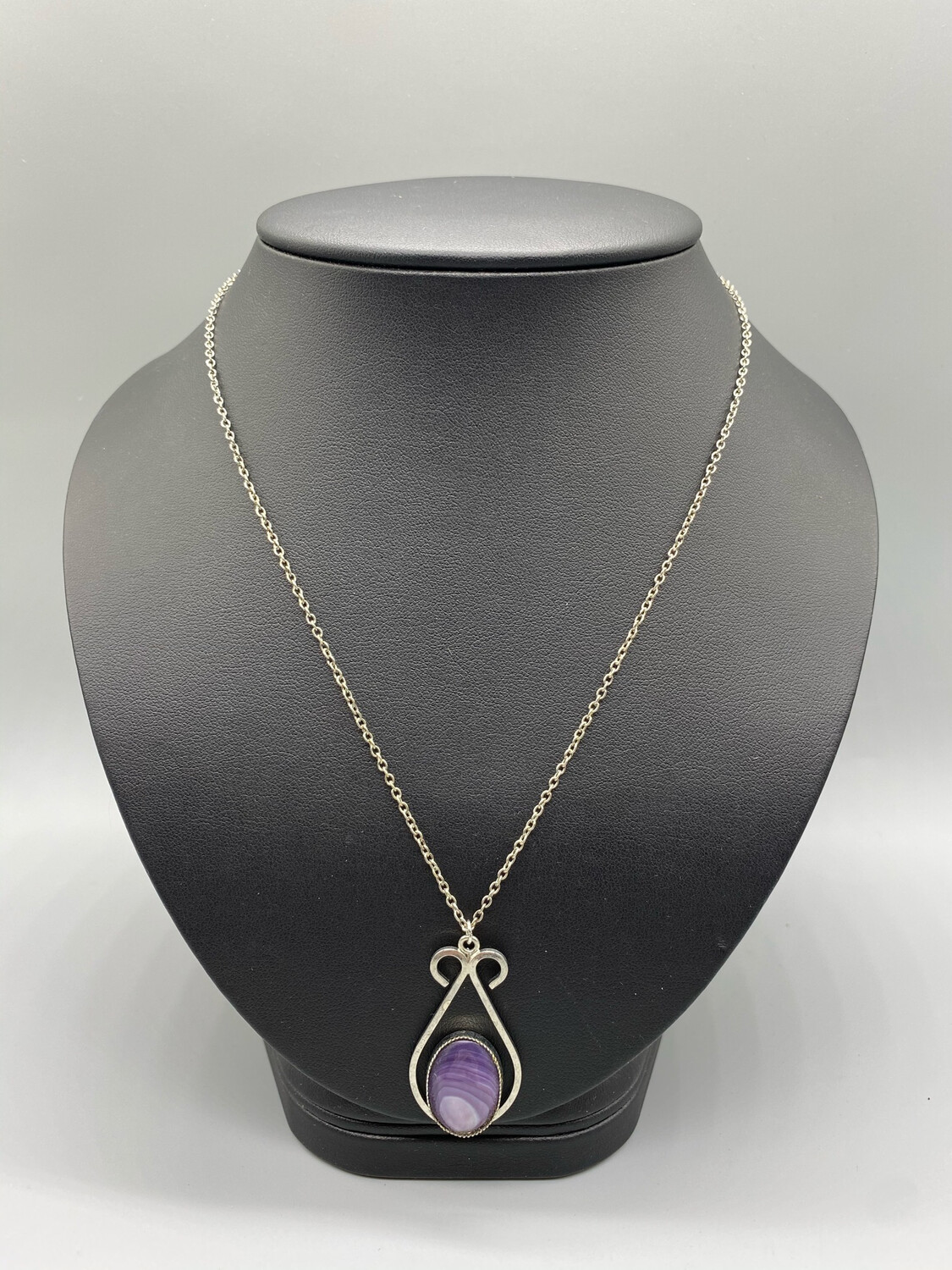 Silver And Purple Pendant Necklace