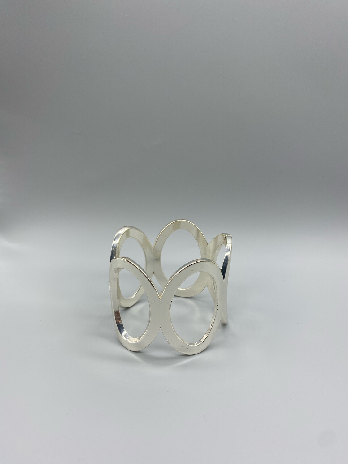 Sterling Silver Bangle With Circle Details