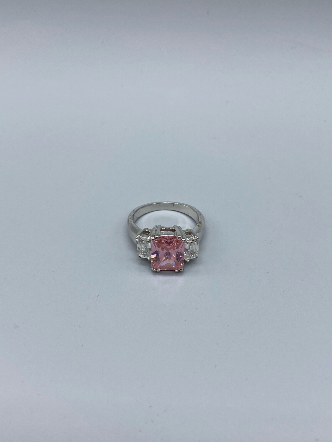 Vintage Square-cut Pink And White Stone Ring Size 9