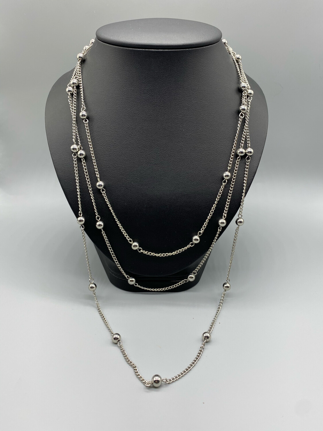 Extra Long Silver Necklace