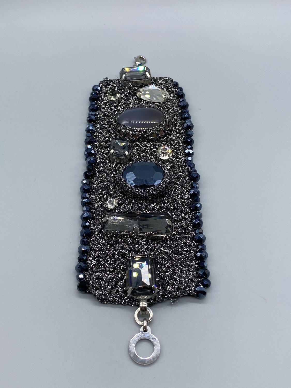 Gunmetal Knit Bracelet With Gemstones