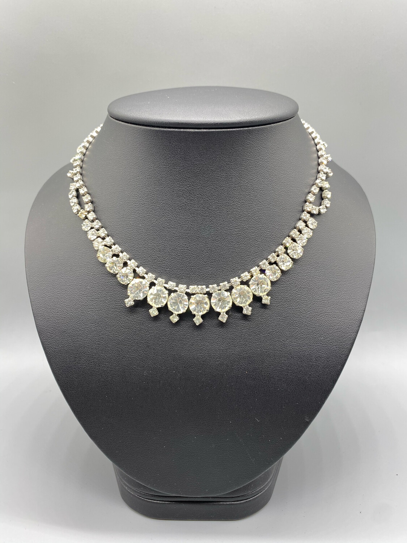 Vintage White Rhinestone Decadent Necklace