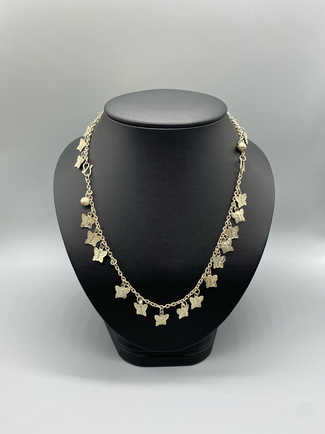 Silver Chain Necklace With Butterflies