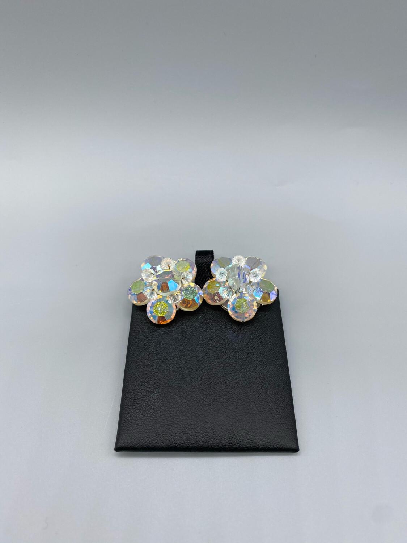 Vintage Iridescent Flower Clip-On Earrings