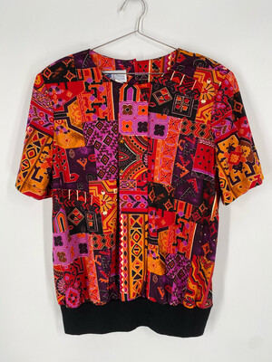 Top Notch Multi-Color Patterned Pull Over Size 38/18W
