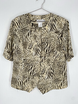 Kathy Che Animal Print Short Sleeve Button Up Size 16