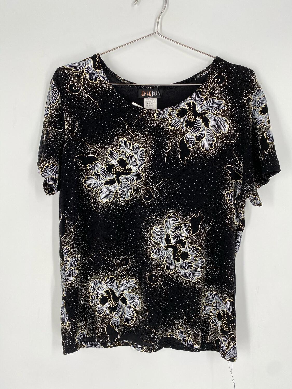 ES-SE Plus Floral Short Sleeve Top Size M