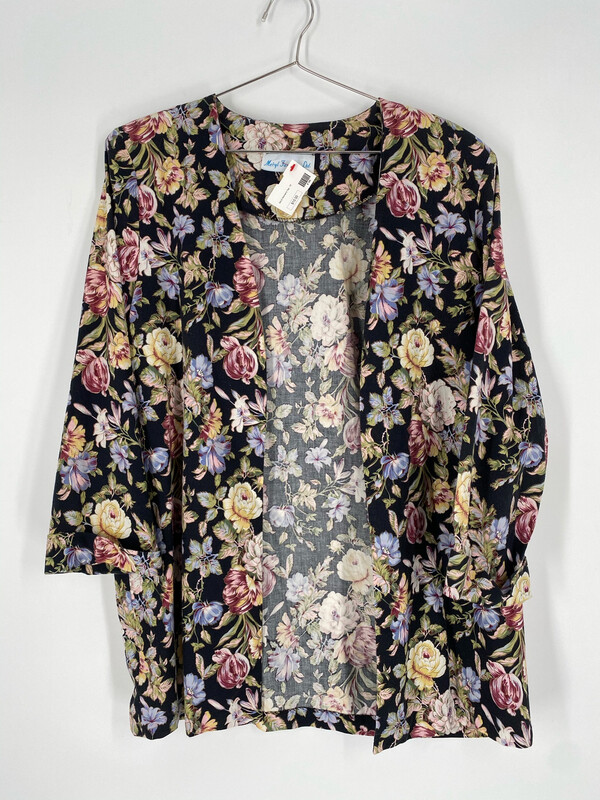 Meryl Fashions Ltd. Floral Printed Fly Away Jacket Size 16WP