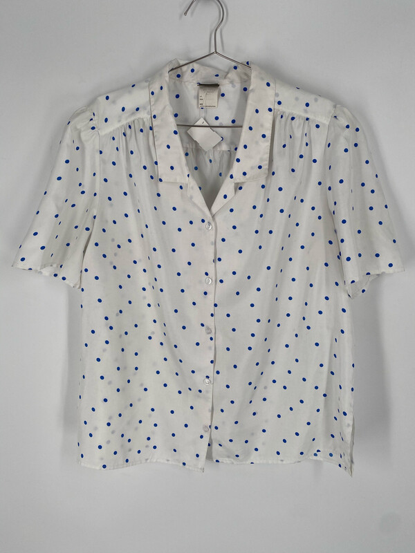 Pykettes Polka Dot Short Sleeve Button Up Size 40/20W