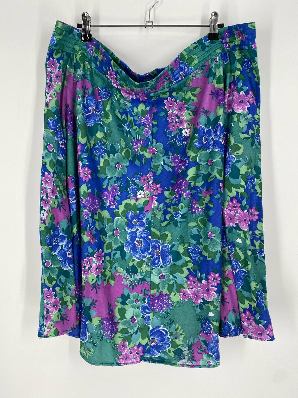Vintage Elastic Waist Floral Skirt Size 16