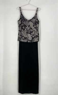Alex Evenings Floral Metallic Maxi Dress Size 14