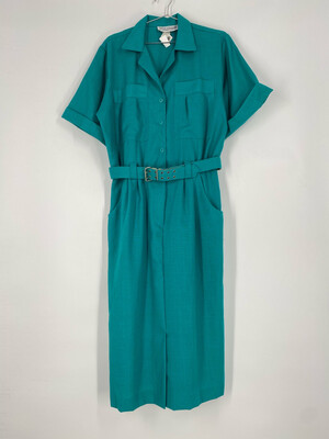 Jessica Howard By Mitchell Rodbell Teal Button Up Dress Size 14