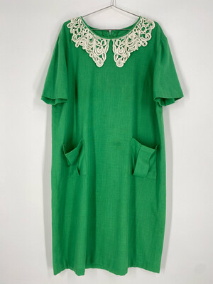 Vintage Shirt Sleeve Embroidered Green Dress Size 3X