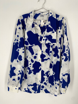 Ms. Russ Blue And White Top Size 18