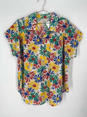 Classic Essentials Multi-Color Floral Short Sleeve Top Size 20