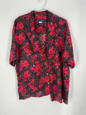 Maggie McNaughton Floral Button Up Top Size 20W