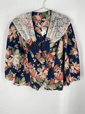 Glenfrey Fashions Floral/Lace Button Up Top Size 24W