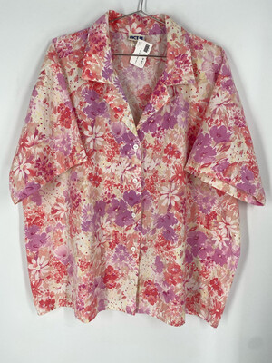 Act III Floral Button Up Top Size 22W/42