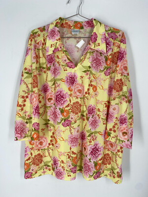 Haband! 3/4 Length Sleeve Floral Print Top Size 1X