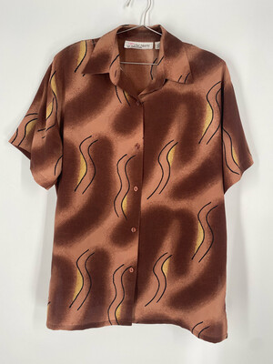Our Hearts By Nimhusham Abstract Printed Button Up Top Size 1X