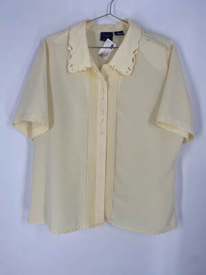 Laura Scott Light Yellow Embroidered Button Up Top Size 18