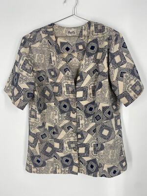 Elizabeth Exclusive Vintage Patterned Button Up Top Size 15/16