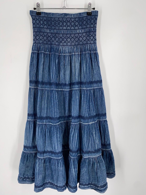 "Lapis Blue Convertible Blue Midi Skirt 27""W"
