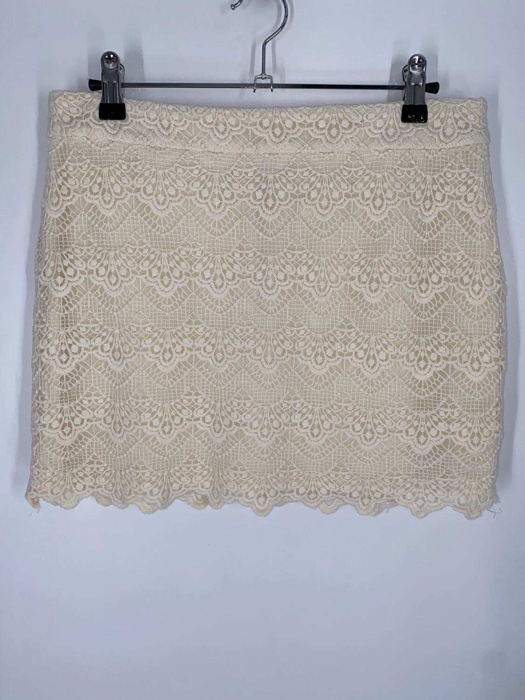 "Andrée Blue Cream Crochet Mini 29""W"