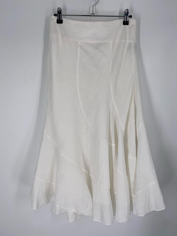 "Ralph Lauren White Linen Midi 30""W"