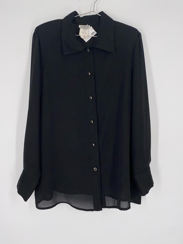 Oraré Sheer Black Button Up Top Size L
