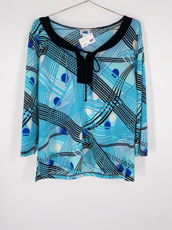 C-Krets Blue Patterned Top Size 2XL