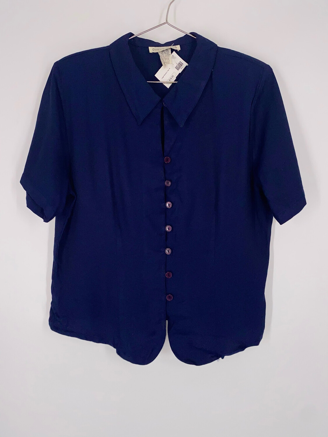 Impressions Navy Button Up Top Size M