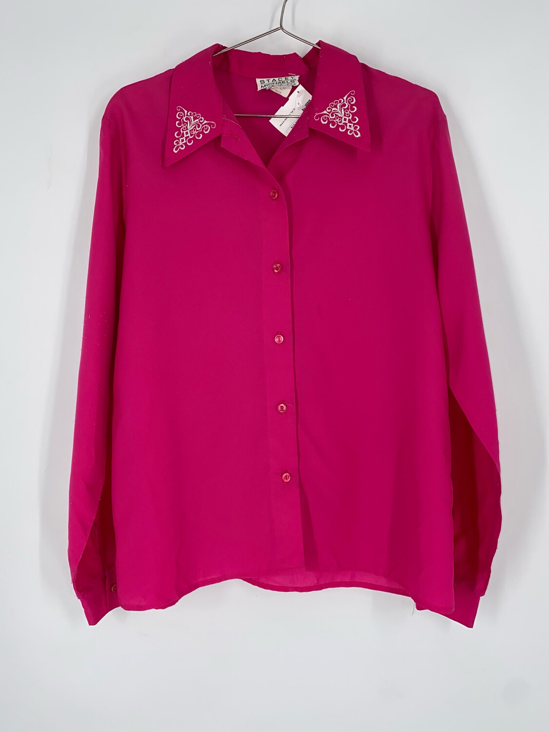 Stacy Michaels Embroidered Button Up Top Size M