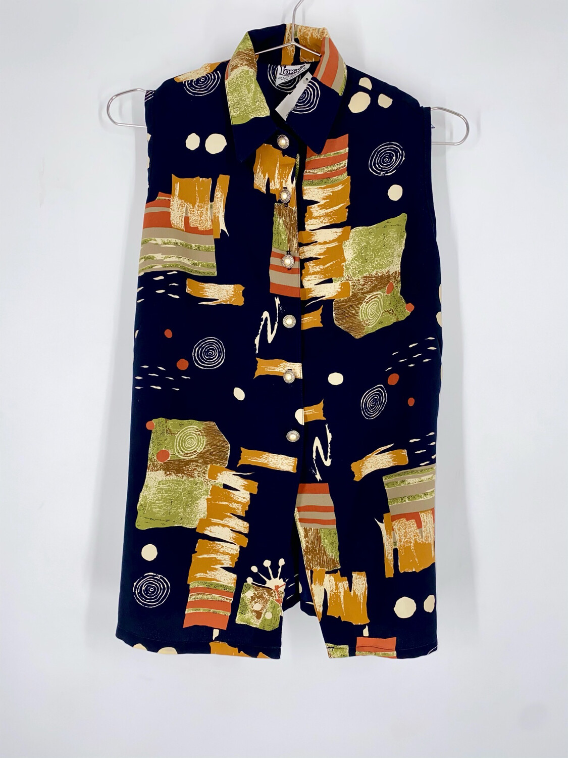 Loky Sleeveless Button Up Top Size M