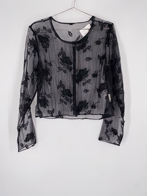 Sheer Floral Embroidered Top Size S