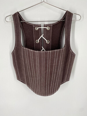 Upcycled Brown Denim Corset Top S/M