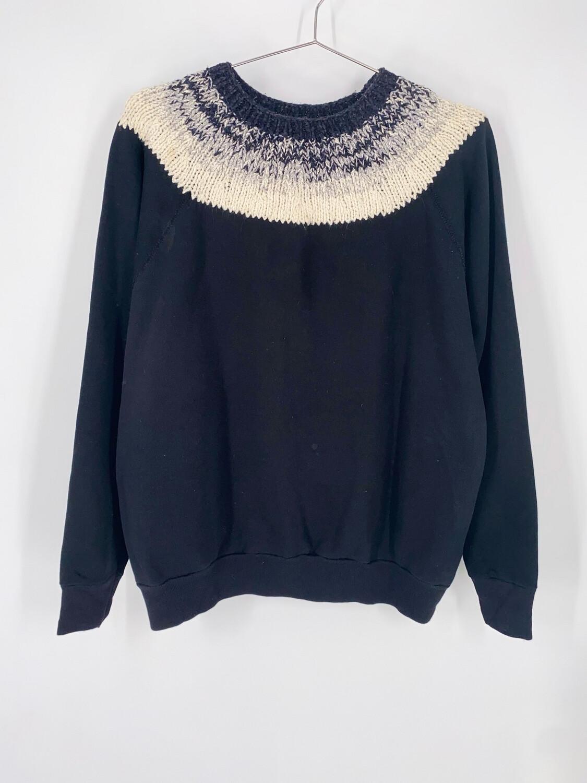 Black Crewneck With Knit Collar Size M