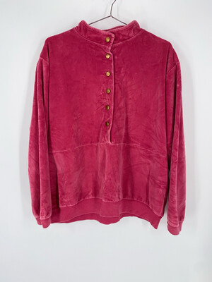 Gertrude Davenport Velour Quarter Button Sweatshirt Size M