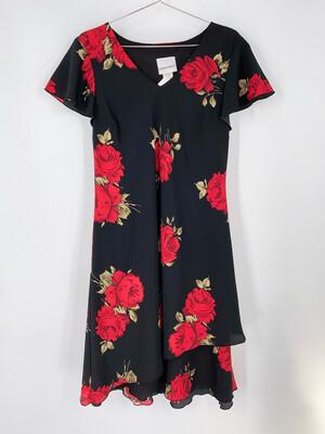 Fashion Bug Rose Print Dress Size M