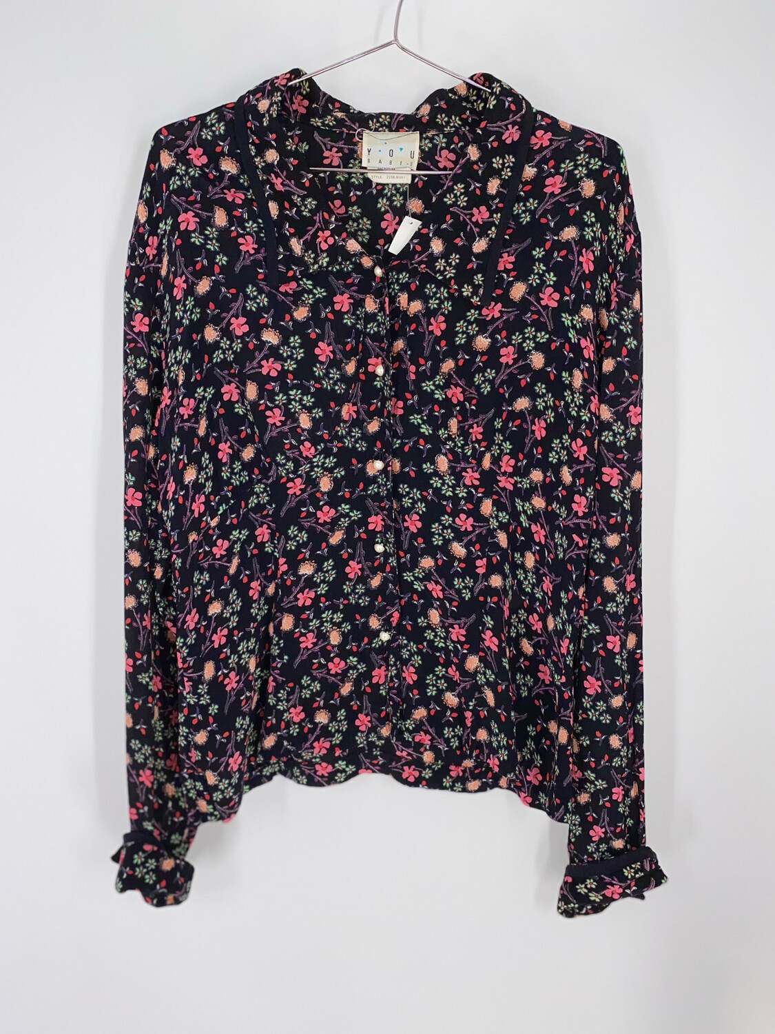 You Babes Floral Button Up Top Size M