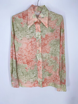 Accent Floral Button Up Top Size S