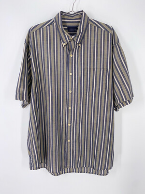 Basic Editions Striped Button Down Size L