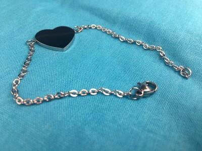 Bracelet coeur initiales gravé