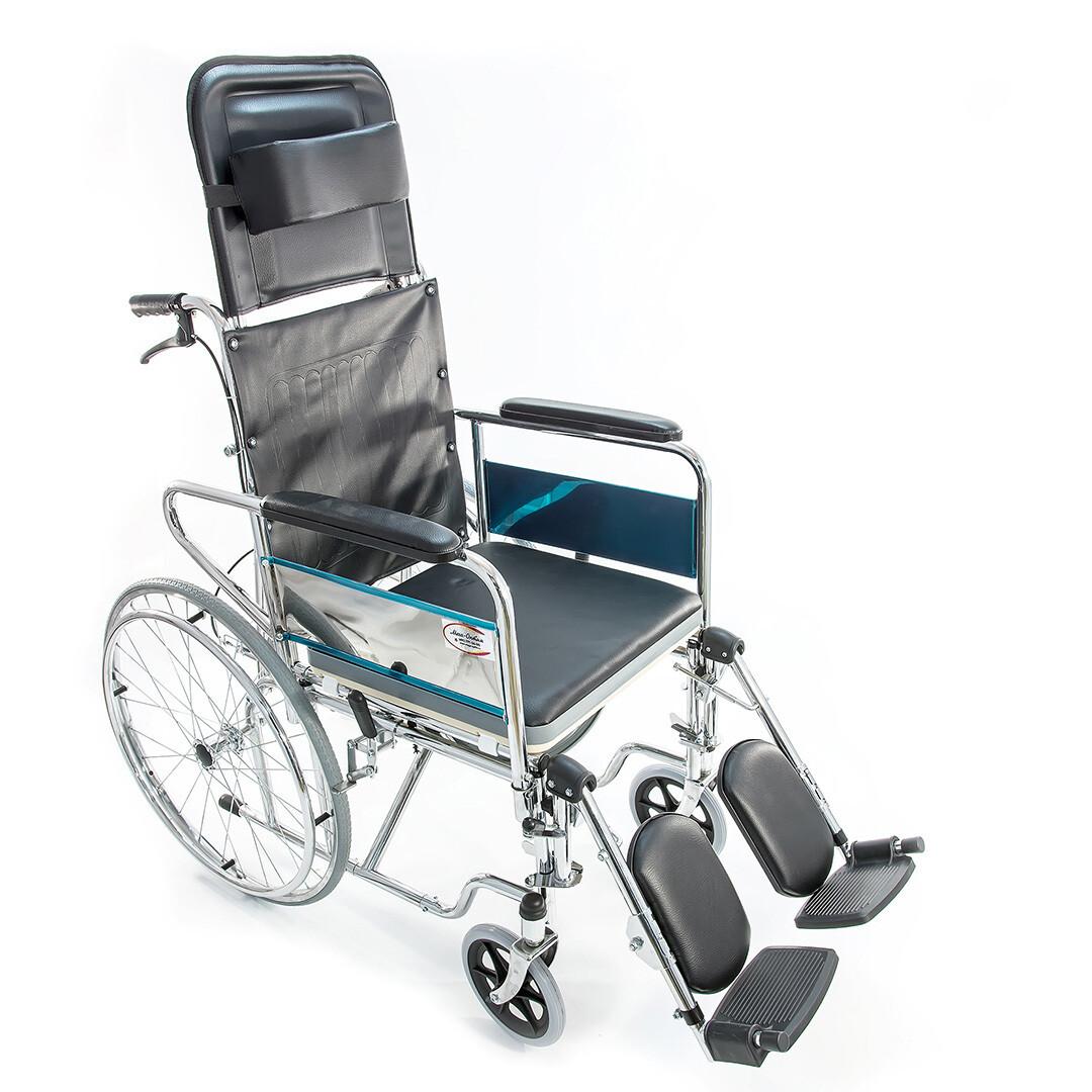 Кресло-коляска FS609GC с высокой спинкой с санитарным устройством