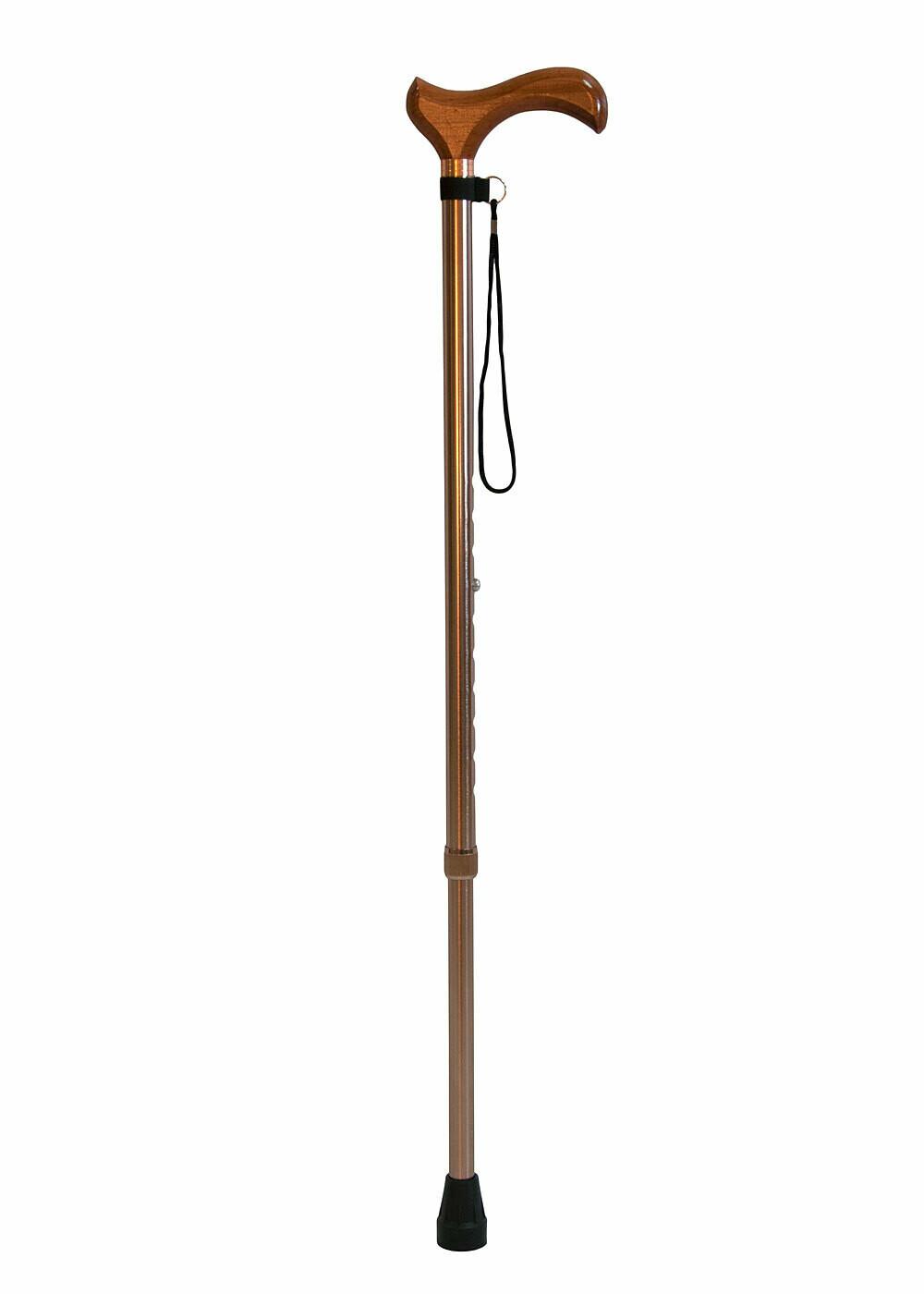 Трость телескопическая с деревянной ручкой