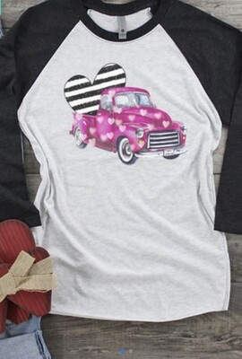 Striped Heart Truck Valentine Raglan