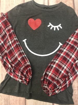 Smiley Face blouse with plaid sleeves
