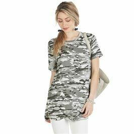Rae Jersey Top White Camo